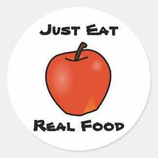 Apenas coma la comida real pegatina redonda