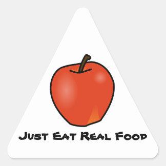 Apenas coma la comida real pegatina triangular