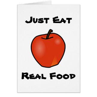 Apenas coma la comida real tarjeta pequeña
