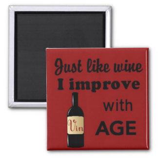 Apenas como el vino mejoro con el imán del cuadrad