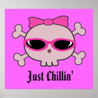 Apenas cráneo rosado del dibujo animado de Chillin Póster