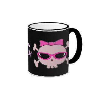 Apenas cráneos rosados de Chillin con las gafas de Tazas De Café