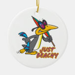 apenas dibujo animado tonto del pingüino con playa adorno de reyes