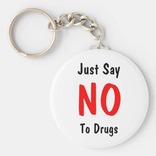 Apenas diga, NO, a las drogas Llavero Redondo Tipo Pin