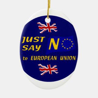 Apenas diga no adorno navideño ovalado de cerámica