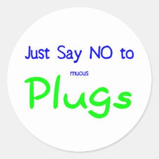 Apenas diga no (el verde) pegatina redonda