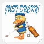 Apenas Ducky Calcomania Cuadrada Personalizada