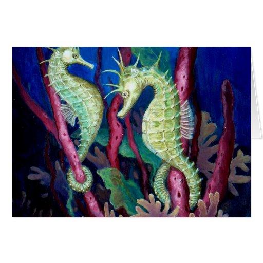 Apenas el dos de nosotros - arte del Seahorse Tarjeta De Felicitación