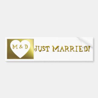 Apenas el monograma casado casa a la pegatina para pegatina para auto
