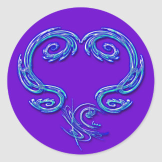 Apenas el pegatina del corazón (púrpura)