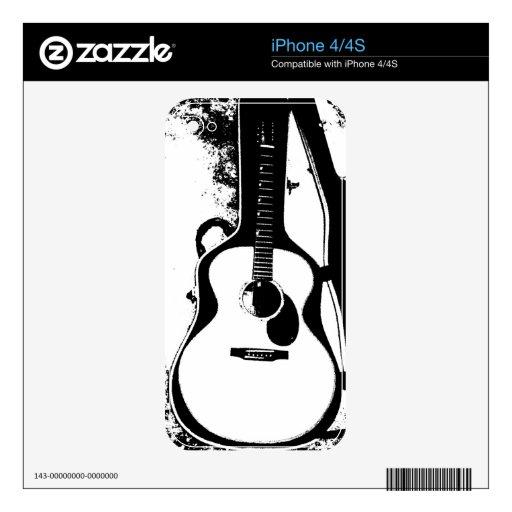 Apenas en piel de la guitarra acústica del caso calcomanía para el iPhone 4