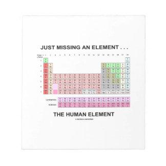 Apenas faltando un elemento… el elemento humano blocs de notas