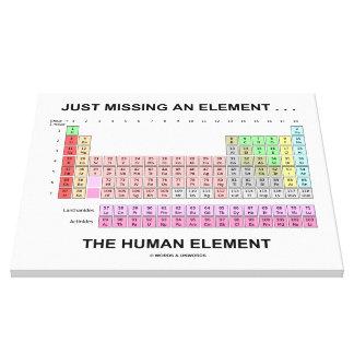 Apenas faltando un elemento… el elemento humano lienzo envuelto para galerias