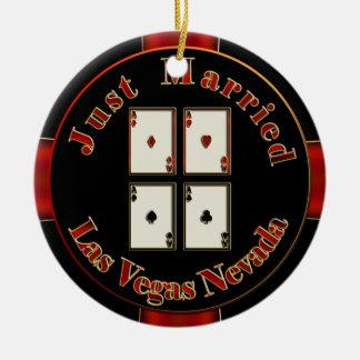 Apenas ficha de póker casada de Las Vegas Nevada d Ornamente De Reyes