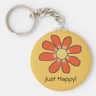 Apenas flor roja feliz en cualquier color llavero redondo tipo pin