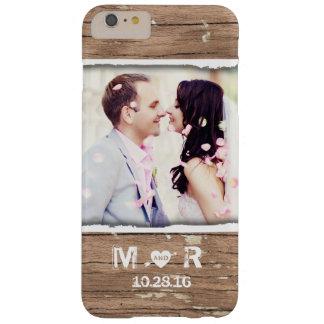 Apenas foto y fecha rústicas casadas del boda del funda de iPhone 6 plus barely there