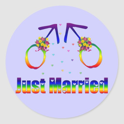 Apenas hombres gay casados pegatina redonda
