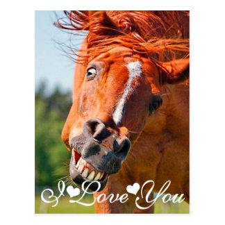 Apenas Horsing alrededor del caballo te amo Postal