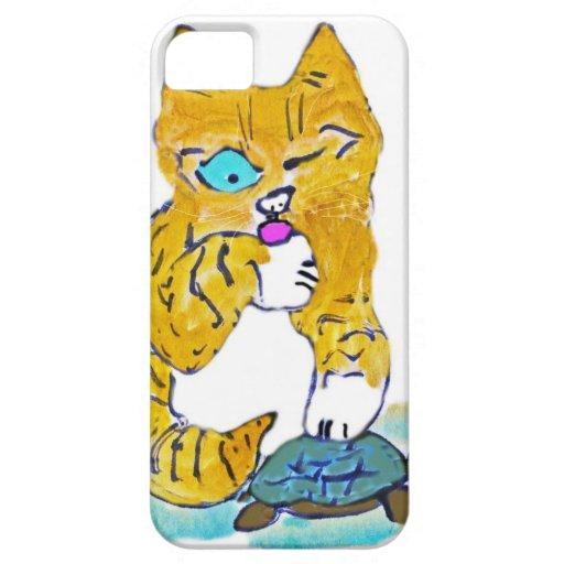 Apenas lavándose la pata, dice el gatito de Tommy iPhone 5 Case-Mate Coberturas