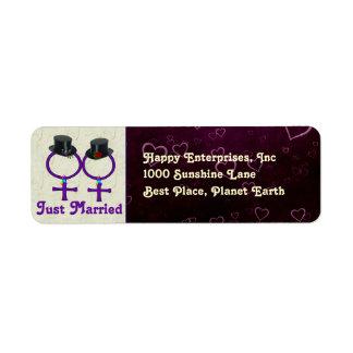 Apenas lesbiana formal casada etiquetas de remite