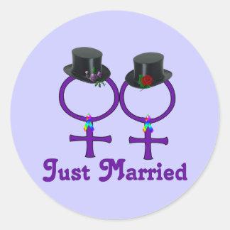 Apenas lesbiana formal casada etiquetas redondas