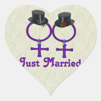 Apenas lesbiana formal casada pegatina corazon personalizadas