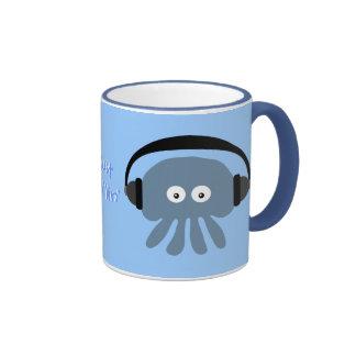 Apenas medusas azules de Chillin con los auricular Tazas De Café