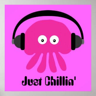 Apenas medusas rosadas de Chillin con los auricula Impresiones