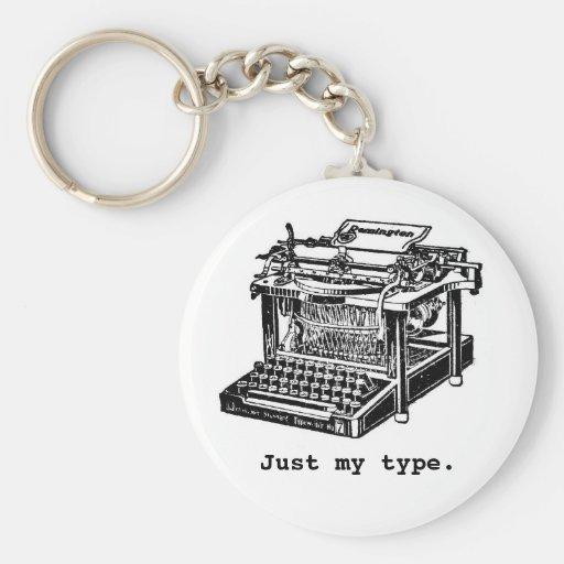 Apenas mi tipo, máquina de escribir llavero redondo tipo pin