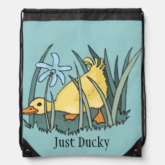 Apenas mochila amarilla Ducky del lazo del anadón
