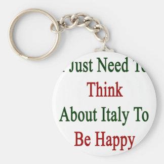 Apenas necesito pensar en Italia para ser feliz Llavero Redondo Tipo Pin