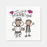 Apenas novio casado de la novia servilleta de papel