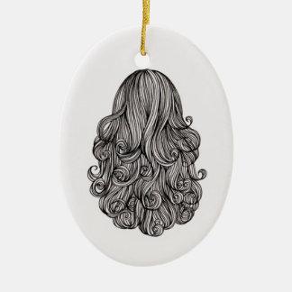Apenas ornamento del óvalo del pelo adorno navideño ovalado de cerámica