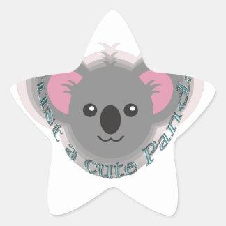 Apenas panda linda calcomanía forma de estrella