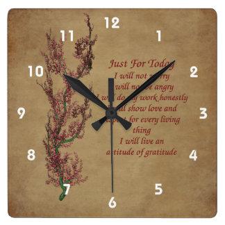 Apenas para el árbol floreciente del hoy inspirado reloj cuadrado