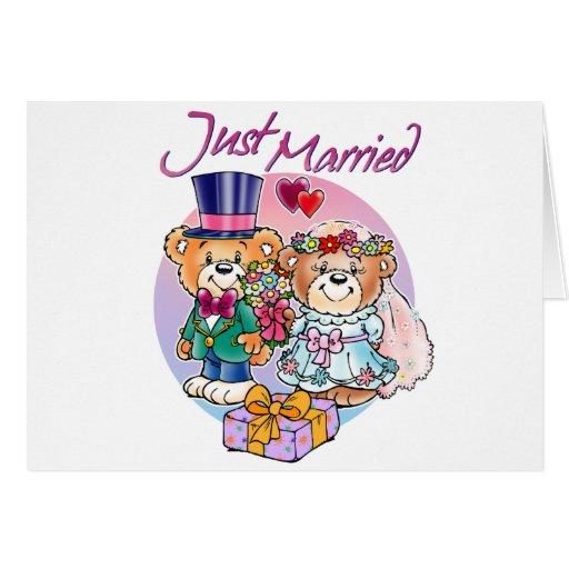 Apenas pares casados del boda del oso de peluche tarjeta de felicitación