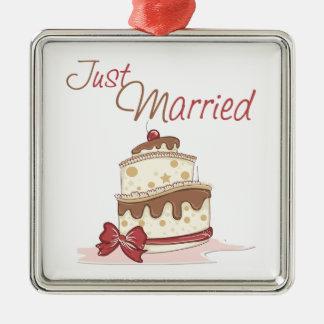 Apenas pastel de bodas casado adorno cuadrado plateado