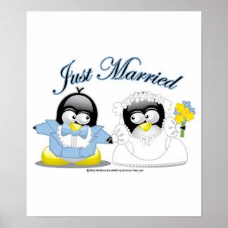 Apenas pingüinos casados póster