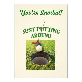 Apenas poniendo alrededor de golf invitación 12,7 x 17,8 cm