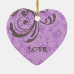 Apenas primer remolino dedicado de Purple Heart Adorno Navideño De Cerámica En Forma De Corazón