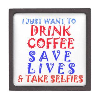 Apenas quiero beber el café caja de recuerdo de calidad