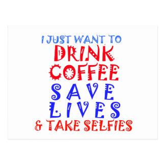 Apenas quiero beber el café postal