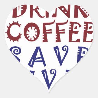 Apenas quiero beber vidas de la reserva del café pegatina en forma de corazón