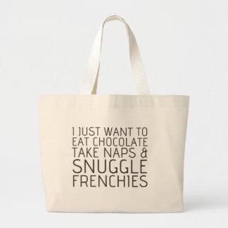 Apenas quiero - chocolate y los Frenchies Bolsa Lienzo