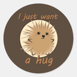 Apenas quiero un abrazo pegatina redonda