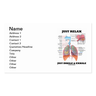 Apenas relájese apenas inhalan y exhalan tarjetas de visita