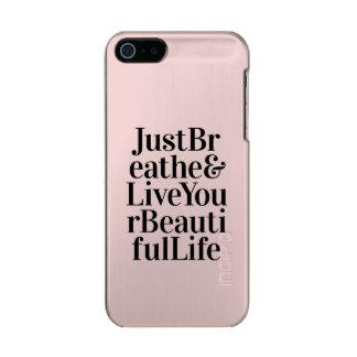 Apenas respire el rosa inspirado de la cita de la funda para iPhone 5 incipio feather shine