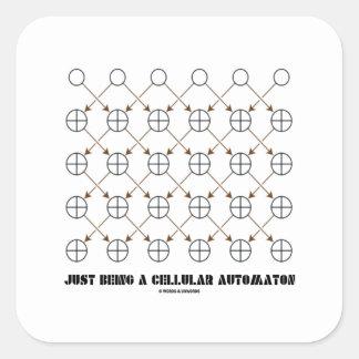 Apenas siendo un autómata celular (regla 90) pegatina cuadradas personalizadas