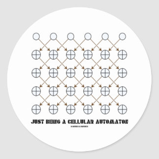 Apenas siendo un autómata celular (regla 90) pegatina redonda