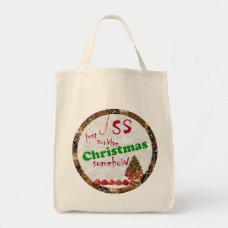 Apenas sobreviva la sátira del navidad bolsa tela para la compra